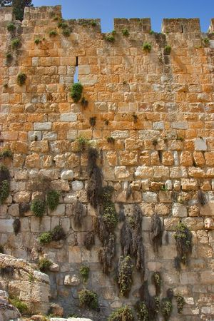 An ancient wall around of old quarters of Jerusalem photo