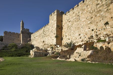 The ancient walls surrounding Old city in Jerusalem  photo