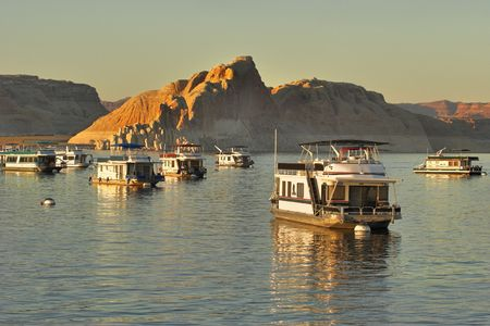 Walking boats on lake Powell in the USA photo