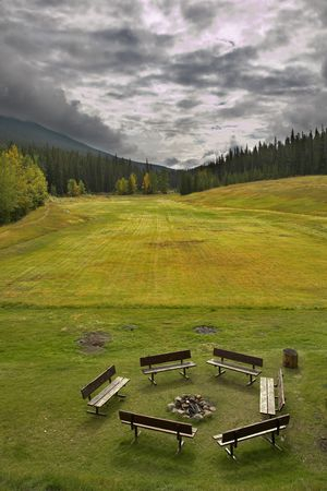 A field for a golf and lawn for friendly meetings and preparation meat on fire photo