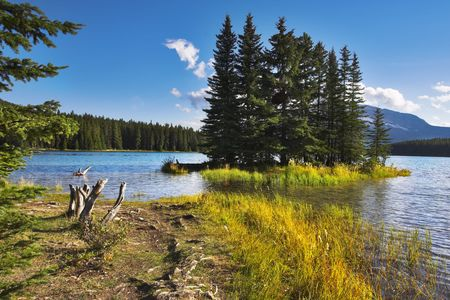 A footpath to coast of lake and small island near to coast. Stock Photo - 2739355