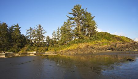 inflow:  Small picturesque island at Pacific coast of Canada during inflow