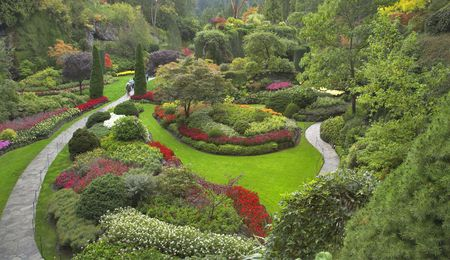 Phenomenally beautiful and picturesque garden for walks and supervision over flowers and trees Stock Photo - 3089298