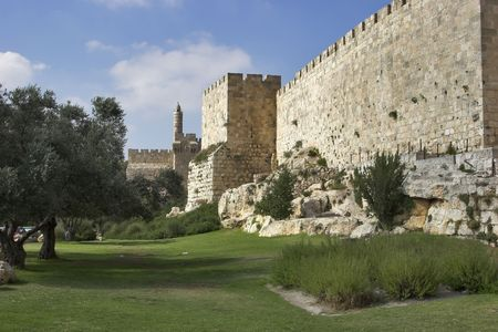 A green lawn and trees at a wall of Jerusalem near David's tower Stock Photo - 3142484