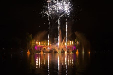 Grandiose celebratory fireworks in Day of the Sacred patron of Madrid photo