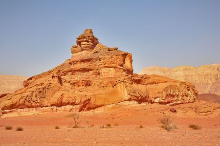 arisen: Naturally arisen monument from sandstone Screw in park Timna in Israel Stock Photo
