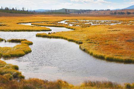 Twisting small stream on flat marshy plain photo