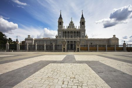 The huge area and stately royal palace in Madrid photo