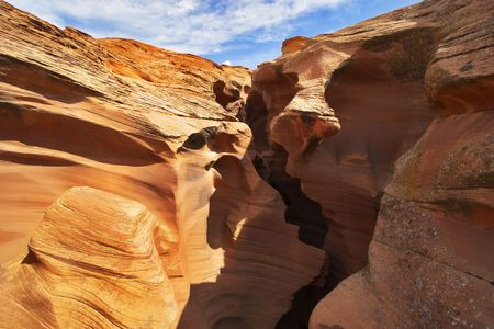 Entrance in Upper canyon Antelopes in reservation Indians navajo in the USA photo