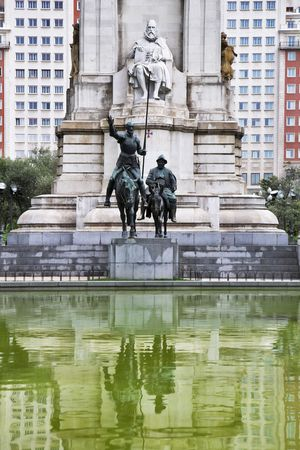grandiose: Grandiose monument to great writer Cervantes in the center of Madrid. Stock Photo