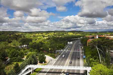 The wide highway crossing Madrid photo