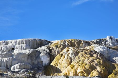 calcareous: Freakish calcareous formations travertine in Yellowstone national park Stock Photo