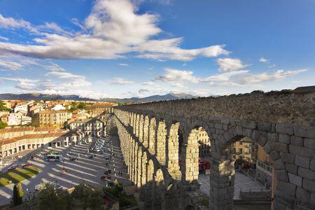 segovia: Modern Segovia and ancient Roman aqueduct