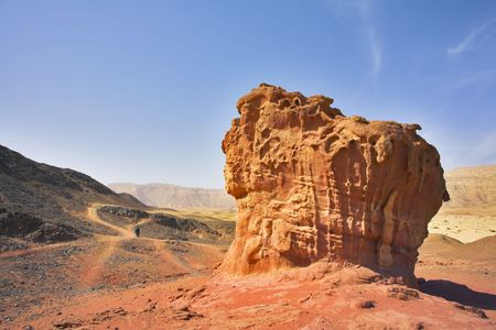 Freakish figures from red sandstone in desert Arava in Israel photo