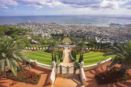 grandiose: Grandiose solemn landscape - Bahai sacred places, Haifa and Mediterranean sea Stock Photo