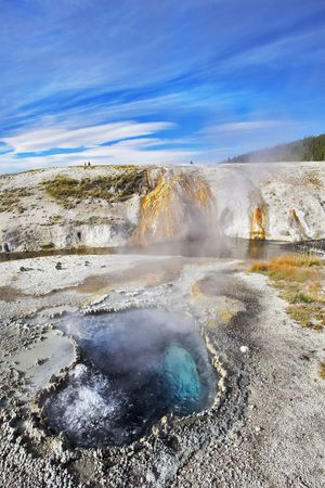 fumarole: Hot water spring of magnificent dark blue color