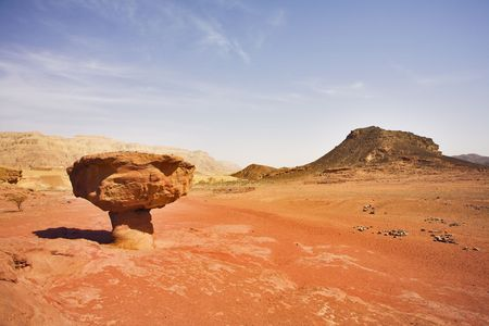 Huge rock from red sandstone in the form mushroom in the heated desert photo