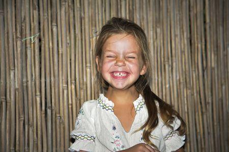 Joyful birthday at the four-year-old girl Archivio Fotografico