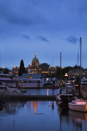 Fine capital of island Vancouver - the ancient city Victoria in twilight  photo