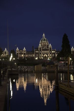 Fine capital of island Vancouver - the ancient city Victoria at night photo