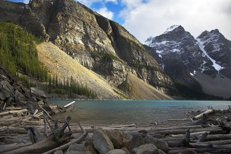 Cold mountain lake in mountains of Canada in October Stock Photo - 3702029