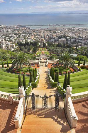 believes: Grandiose magnificent landscape - Bahai gardens, Haifa and Mediterranean sea