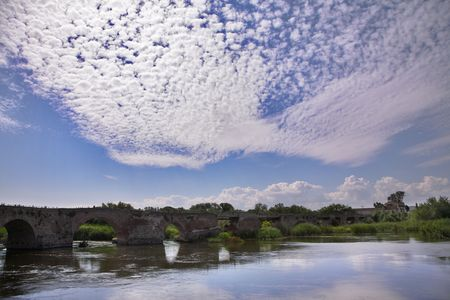 decayed: The decayed ancient bridge through the river Guadalquivir in Spain