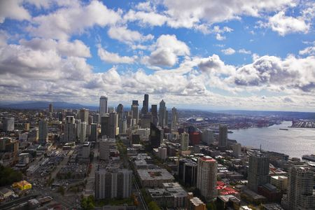 american city: The magnificent American city of Seattle on coast of ocean