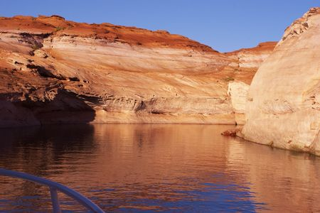 Coast of lake Powell from the red sandstone, photographed from the tourist steam-ship Stock Photo - 3795449