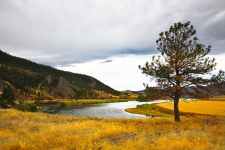 bent:  The river Missouri is beautifully bent between brightly yellow meadows Stock Photo