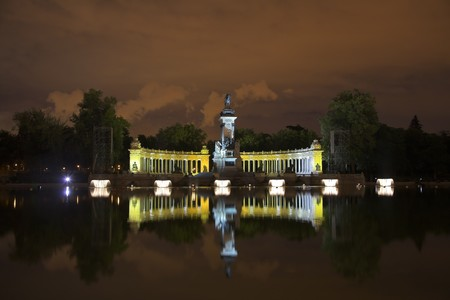The night sky shone from fireworks above the Madrid park photo