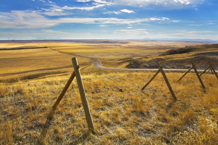 The American prairie in October. A yellow grass and the American road Stock Photo - 4319366