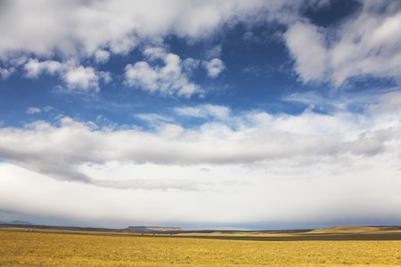 The grandiose sky of Montana above the American prairie in October photo