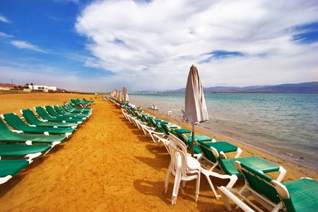 A medical beach on the Dead Sea in Israel Stock Photo - 4493736