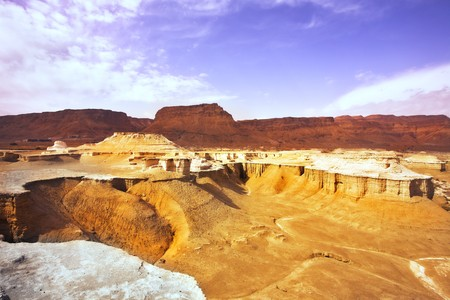 travel features: Picturesque ancient mountains and canyon about the Dead Sea in Israel