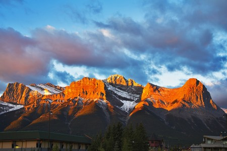 In the morning the first snow in mountain reserve Banff in the north has dropped out. photo