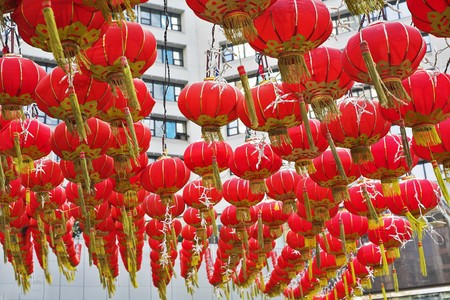 The traditional red lanterns decorating the Chinese city in New year photo