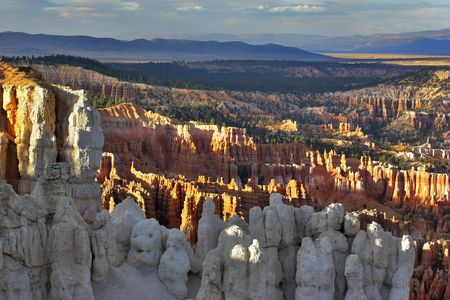 The well-known white rocks in Bryce canyon in state of Utah USA photo