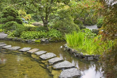 A path from the wet stones, laid through a pond in Japanese  garden photo