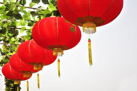 Traditional red New Years spheres in the Chinese park of entertainments