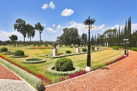 Magnificent park near to center Bahai of religion. photo
