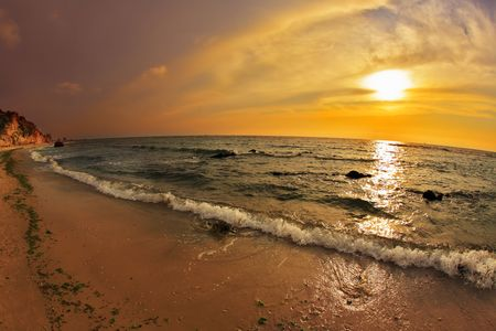 Magnificent cloudy sunset on Mediterranean sea photo