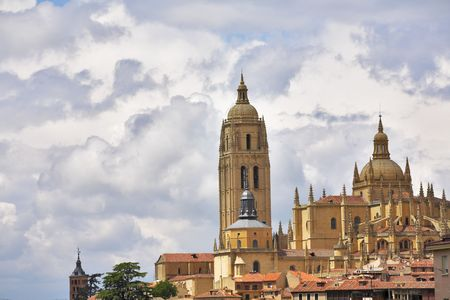 Tower of a cathedral in Segovia on a background of the cloudy sky Stock Photo - 4943388