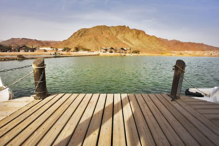 grandiose: Boat mooring in small lake in grandiose park Timna Stock Photo