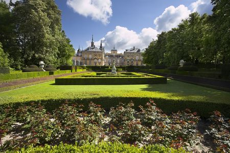 classicism: Magnificent ancient park in style of the French classicism in Palace complex Ildefonso La Granha in Spain