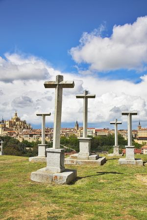 memorable: Glade with memorable crosses on a background of Segovia Stock Photo