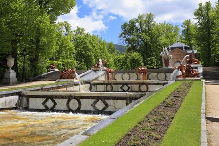 The magnificent cascade of fountains and sculptures of 18 centuries in ancient park in the Spanish city of Segovia photo