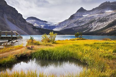 Overgrown a yellow grass shallow lake in rocky mountains photo