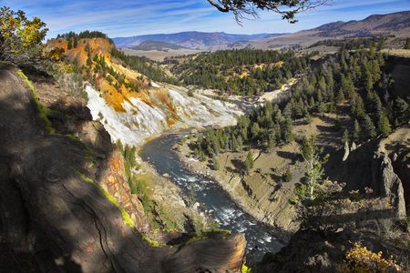 Woody canyon of the river in well-known Yellowstone national park. More magnificent pictures from the American and Canadian National parks you can look hundreds in my portfolio. Welcome! photo