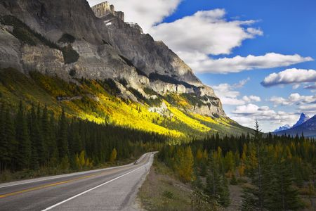 roadsides: Magnificent American road. Northern landscape Stock Photo